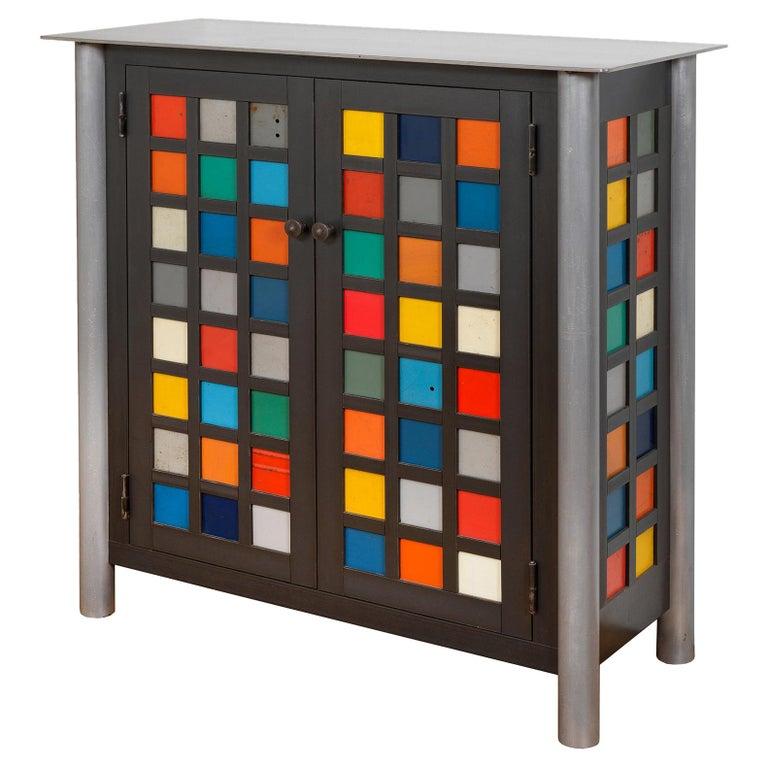 Jim Rose Two-Door Multicolor Block Quilt Cupboard, Steel Art Furniture For Sale
