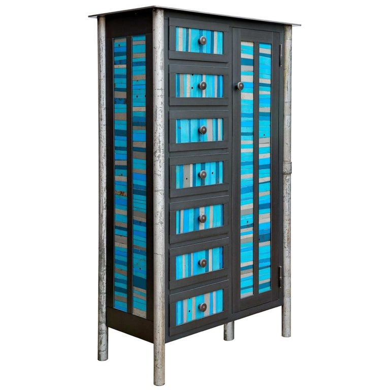 Cabinet and Case of Drawers, Modern Functional Art Steel Furniture by Jim Rose For Sale