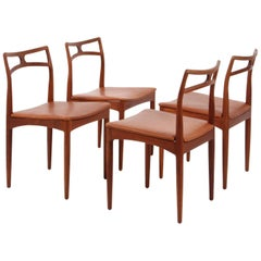 Four Johannes Andersen Teak Dining Chairs, Model 96, Christian Linneberg, 1960s