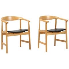Hans J. Wegner Four Armchairs, Model PP208, Beech and Leather, PP Møbler