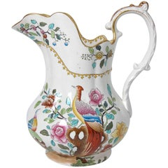 Copeland  Spode Very Large pottery Pitcher or Jug in Pheasant Pattern Circa 1891
