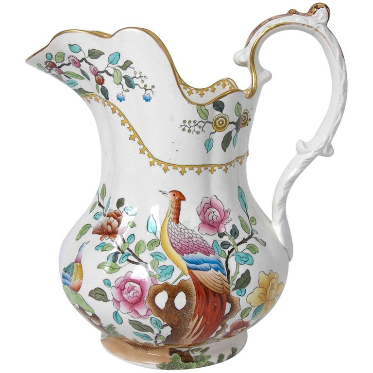 Victorian Spode Copeland Large Pitcher or Jug in Pheasant Pattern, circa 1891 For Sale