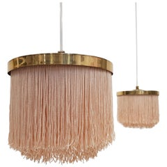 Pair of Hans-Agne Jakobsson for Markaryd Brass and Taupe Silk 'Fringe' Pendants