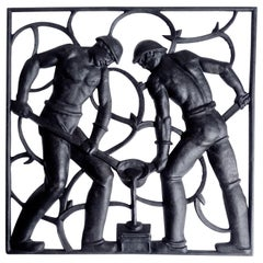 Art Deco Wall Sculpture Miner Nude Men Workers, 1930s Modernist Design