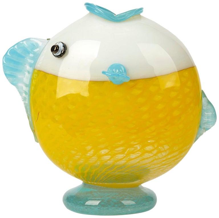 Murano Art Glass Puffer Fish Vase, 20th Century For Sale