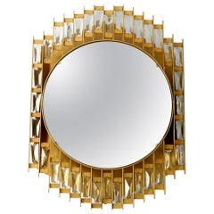 1960s Golden Brutalist Design Wall Backlit Mirror by Hillebrand Made of Metal