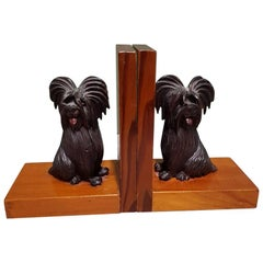 Mid-20th Century Wooden Bookends with Carved Sitting Dogs