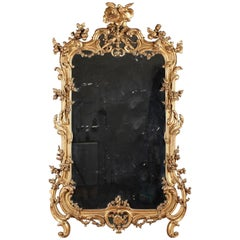 19th Century Very Large Giltwood Mirror in Louis XV Style