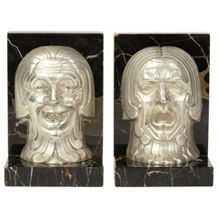 Pair of French Art Deco Comedy and Tragedy Bookend, circa 1930