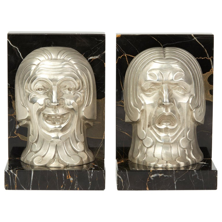 Pair of French Art Deco Comedy and Tragedy Bookend, circa 1930 For Sale