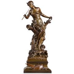 Bronze Casting Le Chant du Saule by Édouard Drouot (French, 1859-1945)