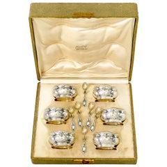 Puiforcat Rare French Sterling Silver Six Salt Cellars, Spoons, Box, Mistletoe