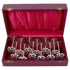 Lapparra Rare French All Sterling Silver Knife Rests Set of 12-Piece, Ribbon