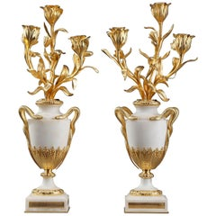 18th Century Louis XVI Marble and Gilt Bronze Candelabra
