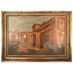 Oil Painting Jacob, Julius Berlin 1842 Genazzano, Piscopal Palace and Bridgeacce