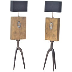 Pair of Acid Etched Floor Lamps with Agate Stone Inlay by Studio Belgali