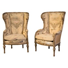 Pair of Bergère Chairs, Wood, Textile France, 19th Century
