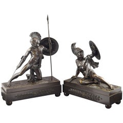 """""""Achilles and Hector"""" Pair of Bronze Sculptures, France, 19th Century"""