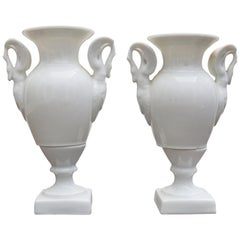 19th Century Pair of French White Porcelain Vases with Swam Shaped Handles