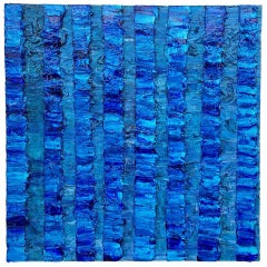 Painting Marina 9 by Liora Textured Square Blue Abstract Canvas Contemporary
