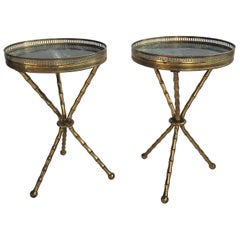 Pair of Vintage Brass Gueridan Tripod Tables