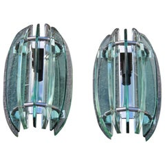 Pair of Crystal Wall Sconces Veca Design Italian 1960s Sculptures Green