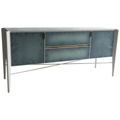Custom Made Sideboard High Gloss White and Color Effect Antique Glass