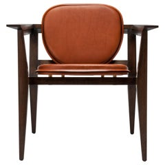 Contemporary Constructor Armchair in Tan Saddle Leather and Solid Walnut