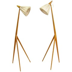 Two Giraffe Floor Lamps by Uno Kristiansson for Luxus