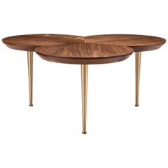 Contemporary Stem Coffee Table in Natural Walnut with Solid Brass Legs