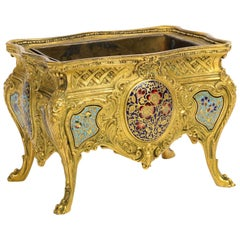 French Ormolu, Bronze and Champlevé Cloisonné Enamel Jardiniere Centerpiece