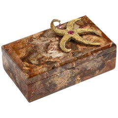 Petrified Wood Box with Silver-Gilt Starfish and Pink Sapphire by Nardi