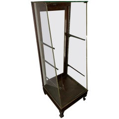 Tall Vintage Glass and Wood Display Case Cabinet