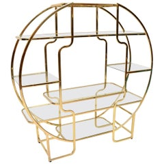 1970s Italian Vintage Brass and Glass Display Cabinet or Bookcase