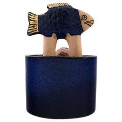 Lisa Larson für K-Studio / Gustavsberg, Lidern Jar in tiefen blauen Glasur