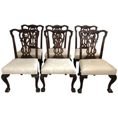 Set of Six 19th Century Mahogany Chippendale Dining Chairs