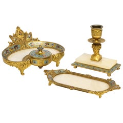 French Ormolu Bronze, Onyx, and Champlevé Cloisonné Enamel Desk Set, Inkwell