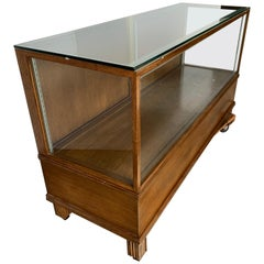 Large Rectangular Art Deco Style Oak and Glass Display Case Cabinet