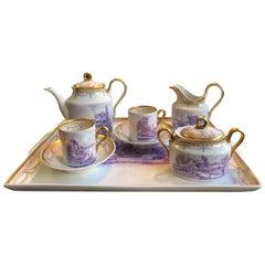 Richard Ginori Mid-18th Century Porcelain Coffee Set Hand Painted Landscapes