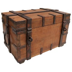 19th Century Anglo-Indian Colonial Fruit Wood Chest with Wrought Iron Fittings