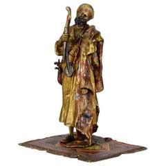 Austrian Cold Painted Bronze 'Arab Arms Dealer' by Franz Bergman