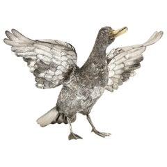 Mario Buccellati, Rare and Exceptional Italian Silver Furry Standing Duck