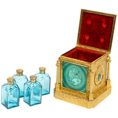 Exquisite Quality Napoleon III Engraved Ormolu and Malachite Perfume Bottle Box