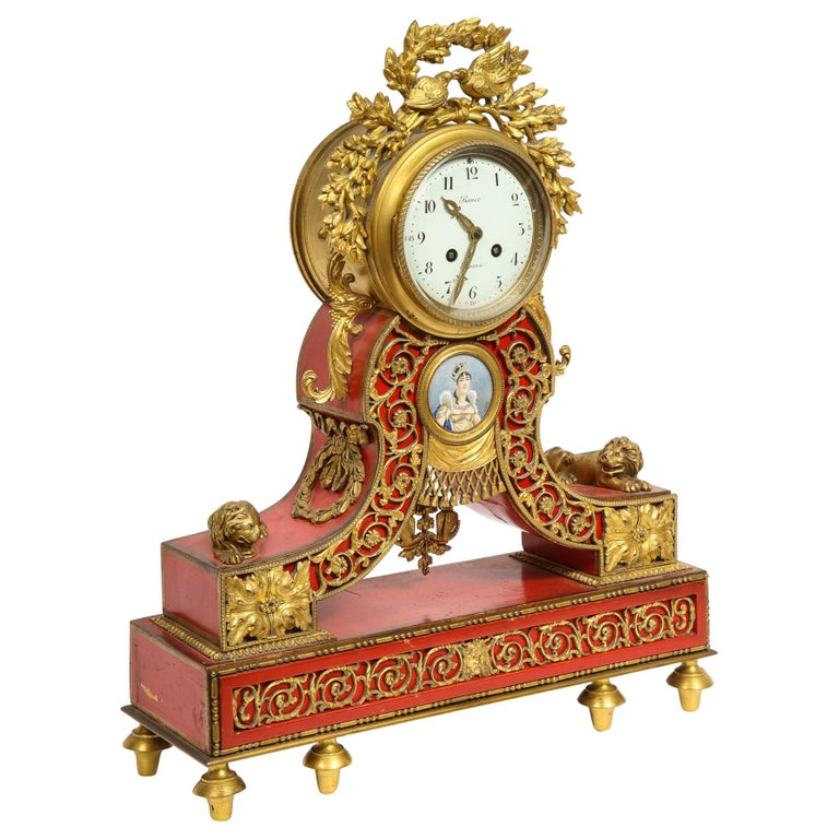Gorgeous French Ormolu Gilt Bronze-Mounted Red Painted Mantel Clock, 1870 For Sale
