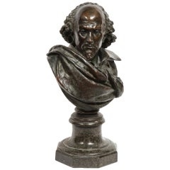 Rare French Patinated Bronze Bust of William Shakespeare, Carrier-Belleuse
