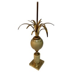 Marble Pineapple Lamp, Golden Lamp, in the Style of Jansen, circa 1970