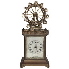 20th Century German Ferris Wheel Novelty Automaton Brass Carriage Clock