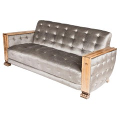 Art Deco Satin Birch Sofa with Fluted Arms & Paw Feet