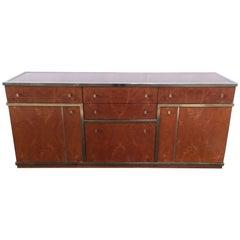 Mid-Century Modern Italian Briar-Root Metal Framed Cupboard or Cabinet, 1970s