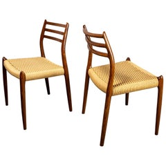 Niels Møller Model 78 Rosewood Papercord Chairs, Set of Six